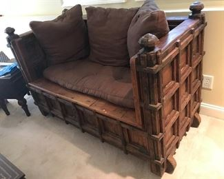 Antique traveling church pew
