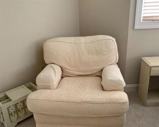 Comfy La-Z-Boy reading chair with matching ottoman