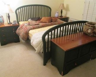Queen Bedroom Group:  Headboard/Footboard & Rails, 2-3-Drawer Nightstands, Storage Chest/Bench, 4-Drawer + Cabinet Dresser.  2-Tone Finish