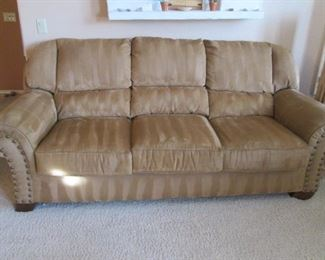 """2-Matching Sofas with Suede-Look Upholstery & Large Nail Tack Detail.  They Look Very Comfortable!             88"""" Wide"""