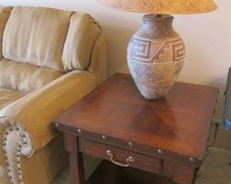 Pair of Detailed End Tables & Pair of Ceramic Southwest-Style Table Lamps