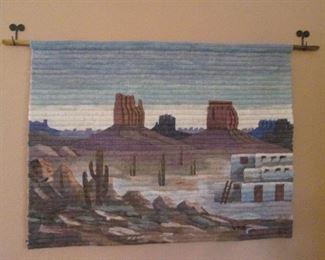Landscape with Pueblo Wall-Mount Weaving on Rod