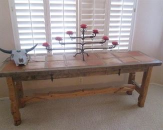 """Rustic-Style Library Table with Saltillo-Tile Top,               2-Drawers and Trestle Legs, 76"""" X 21"""""""