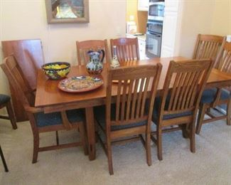 """Mission-Style Dining Room Table/6-Chairs and                    2-18"""" Leaves, 60"""" X 42"""""""