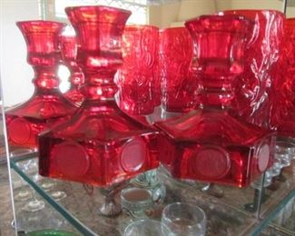 Fostoria Ruby Red Coin Glassware