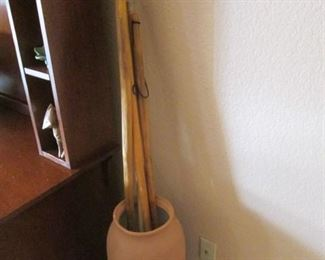 Terra Cotta Floor Pot & Walking Sticks