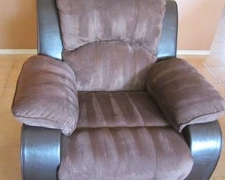 Comfy Chair with Recliner, 2-Tone Colors with Matching Loveseat