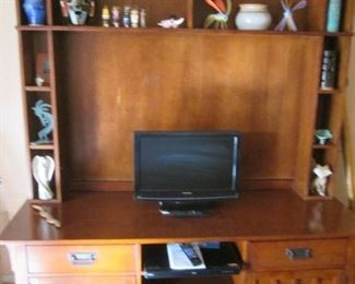 """Mission-Style Entertainment Unit; Closed Storage, Shelves & Display Cubbies, 87"""" X 24"""".   Opening Size for Flat Screen TV, 51"""" X 34"""""""