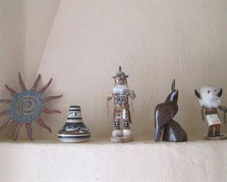 Metal Sunburst, Ironwood Sculpture & Kachinas