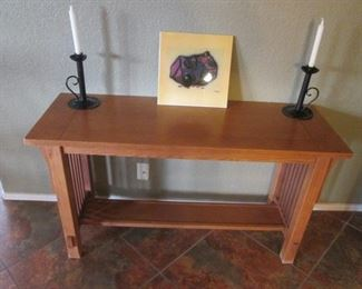 """Mission-Style Console Table with Shelf + Pair of Candlesticks, 48"""" X 17"""""""