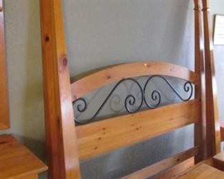 """Queen-Size 4-Poster Bed by """"Belle Reve"""", Lovely Pine Wood Finish with Metal Trim on Headboard & Mirror."""