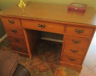 """Heywood Wakefield Knee-Hold Desk with Glass Top,    46"""" X 22"""""""