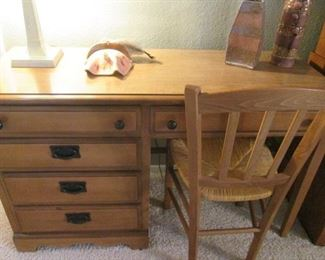 """Knee-Hole Desk, 48"""" X 18"""" + Chair with Rush-Seat"""
