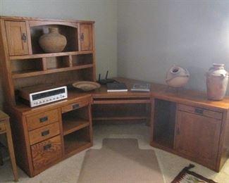 "Desk Unit with Hutch, Corner & Return, Wood & Dark Hardware, Overall Size-80"" X 76"""