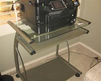 Metal & Glass Rolling Cart + Epson Printer,      Workforce WF 3640