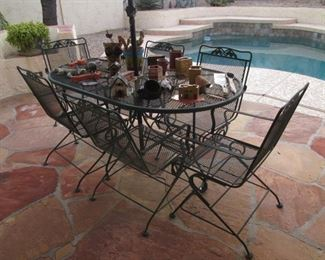 """Overview of Patio.  Oval Table/6-Chairs, 64"""" X 38"""""""