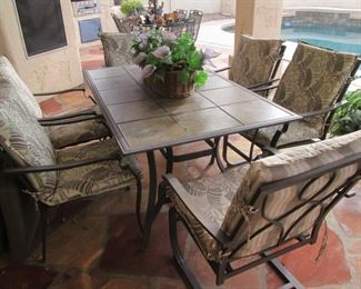 """Patio Table with Tile Top/6-Arm Chairs, Cushions,       64"""" X 40"""""""