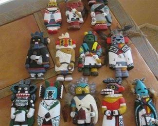 Ceramic Kachina Collection, 12 Pieces - Ready to Hang