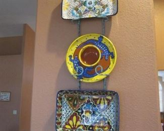 Decorative Mexican Pottery in Wall Rack