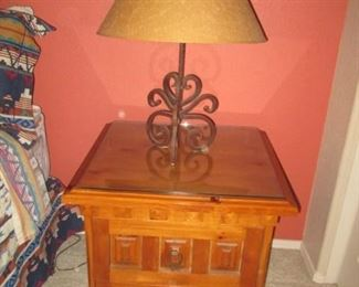 """Matching Nightstand, 26"""" X 23"""", with Glass Top & Table Lamp with Metal Stand"""