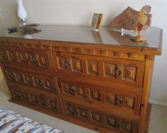 """Dresser 72"""" X 24"""", with Glass Top, Ornate Heavy Inset Details,  Matching Nightstand"""