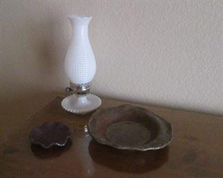 Hurricane-Style Milk Glass Lamp