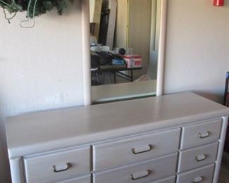 "9-Drawer Dresser, 60"" X 18"" with Mirror by Broyhill, Whitewash Finish"