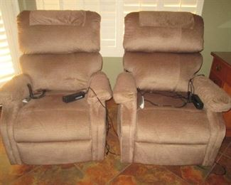 """2-Matching Lift Chairs by """"Pride"""", Tan Color.                            NOTE:  Purchased May of 2019, ALMOST NEW!!!  New cost $2400."""