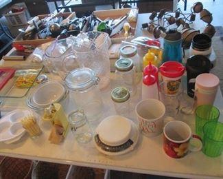 Jars, Pitchers, Bowls + Variety of Kitchen Items