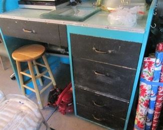 Desk For Sale + Wood Stool