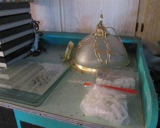 Brass/Glass Small Chandelier