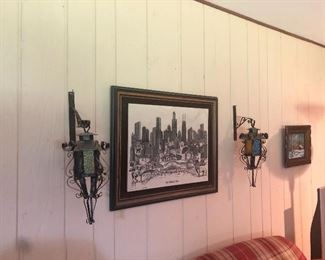 wrought iron vintage sconces.  Picture in between is not for sale.