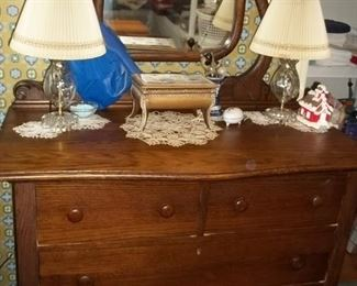 antique dresser with mirror on wheels  $199.00