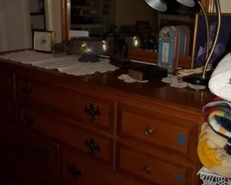 triple dresser, 10 drawers with mirror $185.00--on wheels