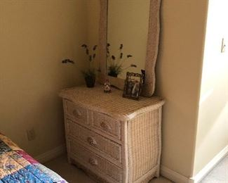 Wicker and wood dresser