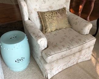 White floral upholstered chair - 2 available