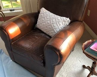Brown leather pottery barn chair