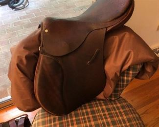 "Blue Ribbon Custom Leather Saddle. 16"" seat; Hunter/Jumper style MADE IN ENGLAND. Wooden tree; no damage to tree; leather slightly worn. Used (obviously); medium tree no stirrup leathers or irons included; girths of various sizes also available. Circa 1980."