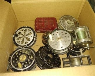 Selection of vintage fishing reels   at site saturday