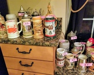 Lot's of steins, some were over $100 when collecting