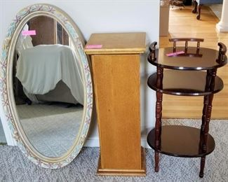 Large Oval Mirror, Oak Pedestal with Storage Inside, Oval Cherry 3 Tier Side Table.