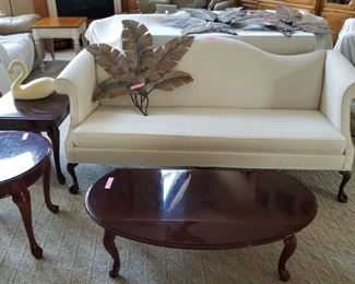 Cream Humpback Sofa with 3 Matching Cherry Tables, Can be sold separately.