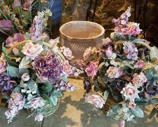 Silk Flowers in Baskets