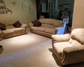 Very Comfortable, Tan Sofa, Love Seat and Chair.