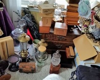 Many Cigar Boxes and Decorator Items
