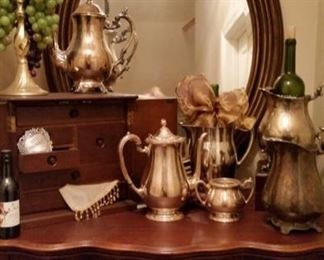 Silver Pitchers and 7 Drawer Jewelry Box