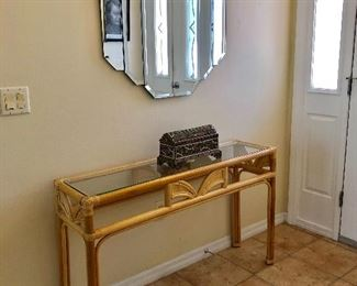 Rattan Entry/Sofa Table w/Glass Top - (47-1/2W  13D  29-1/2H)