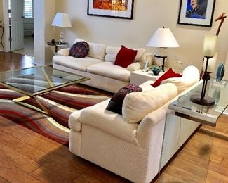 TWO White Low Profile Sofas by Directional - (70W  35D  26H at back)
