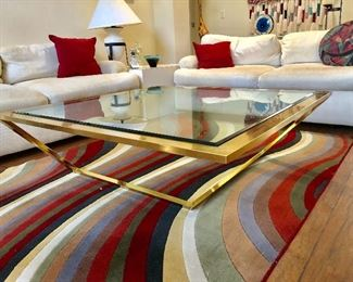 Brass and Glass Coffee Table - $95 - (42W  42L  15H)