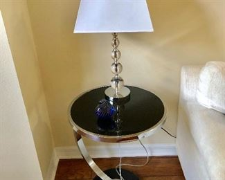 Round Black Glass Side Table - (18 Diam. 23H)